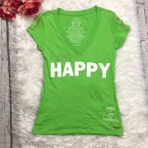 Peace Love World I am Happy Green V Neck Tee Sz S